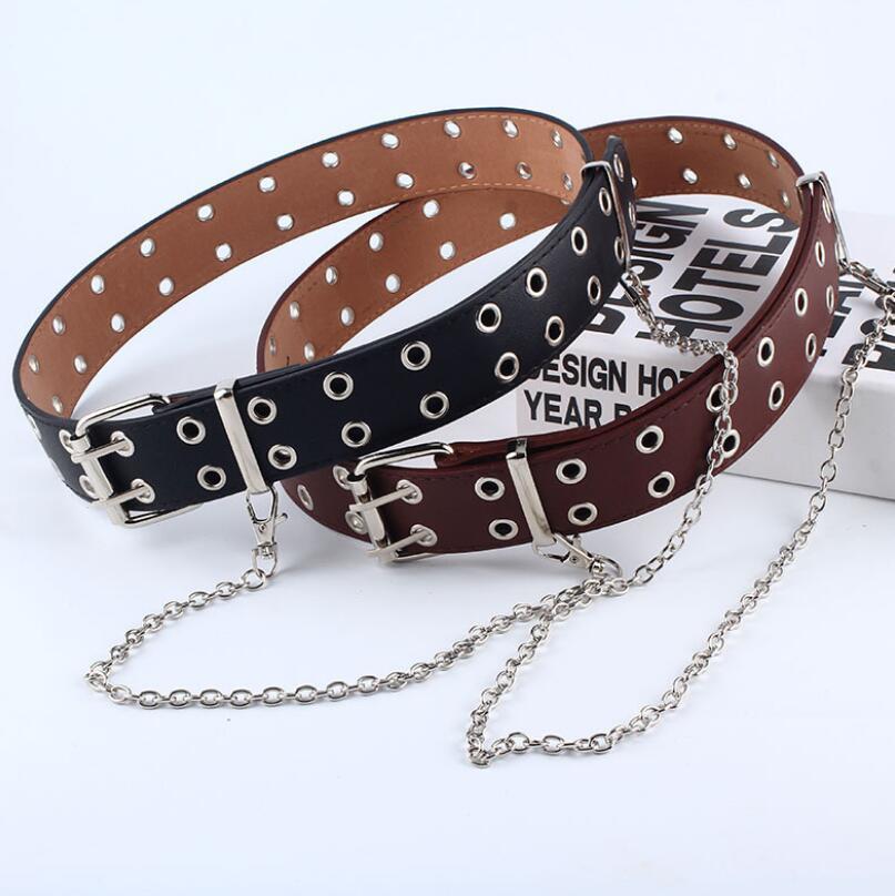 Helisopus Punk Chain Belt For Women Double/Single Eyelet Grommet Leather Buckle Adjustable Women Belt Jeans Decoration