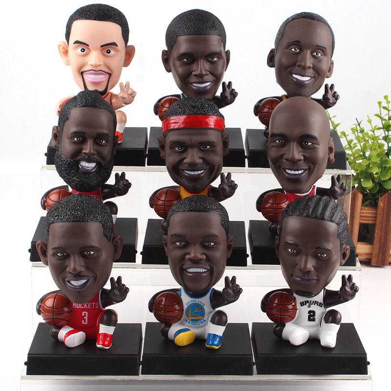 Super Star Player Michael Jordan Kobe Bryant Curry James Lovely Bobble Head Figure Basketball Toys Sports Doll Phone Holder