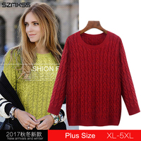 Sweaters For Women 2017 Autumn Winter Twist Knitted Pullover Sweater Tops Jumper Big Sizes 4XL 5XL