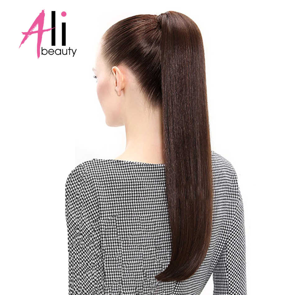 ALI-BEAUTY Menselijk Haar Paardenstaart Europese Straight 120gram Wrap Around Clip In Paardenstaart Machine Remy Haar 12-26 inches