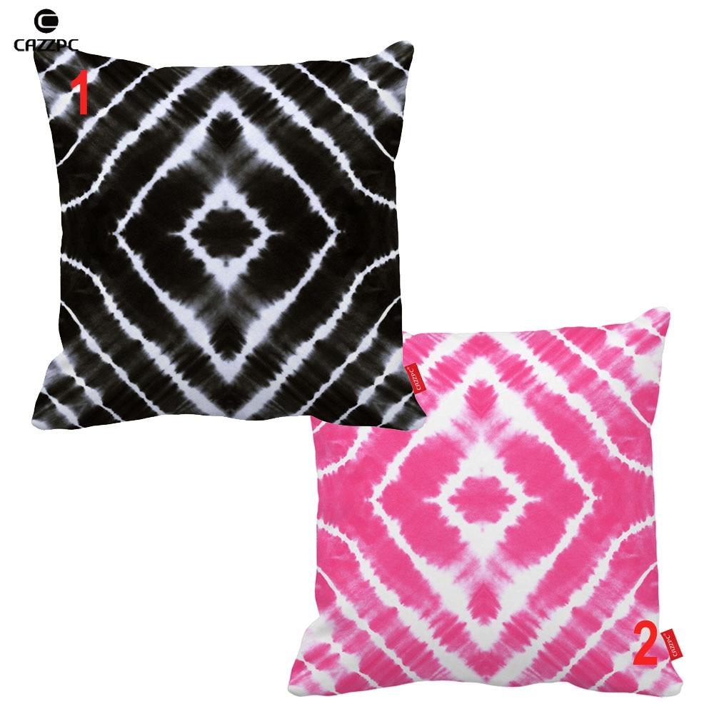Black Pink Tie Dye Square Rhombus Geometric Print Car Sofa Decorative Pillowcase Cushion Cover Home Decor