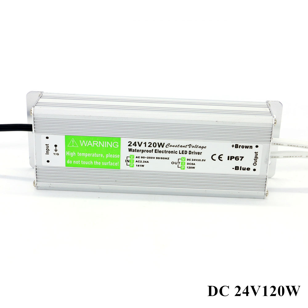 DC 24V 120W Power Supply Outdoor LED Transformer Waterproof ip67 LED Driver Adapter for Strip light new new led strip power supply 110v 220v 264 v to 12v 10 a led driver ip67 waterproof ultra thin led light transformer 120w