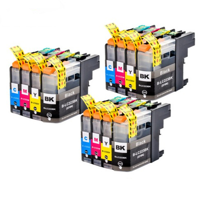 With Chip 12Pcs LC223 LC221 Compatible Ink Cartridge For Brother MFC-J4420DW/J4620DW/J4625DWJ480DW/J680DW/J880DW Printer цена 2017