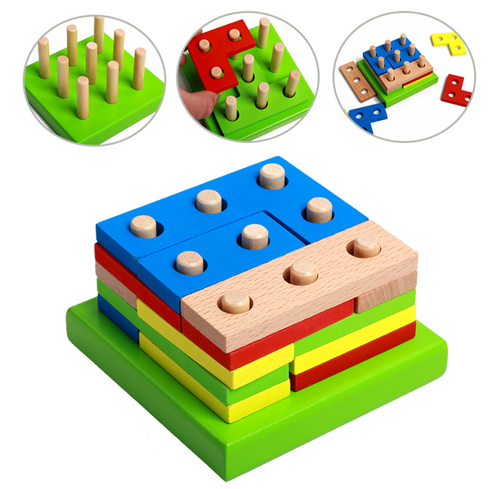Wooden Building Blocks Assembled Kids Toy Colorful Geometric Shapes Assembled Building Blocks Intellectual Toy for Children colorful pineapple ru bun lock children puzzle toy building blocks