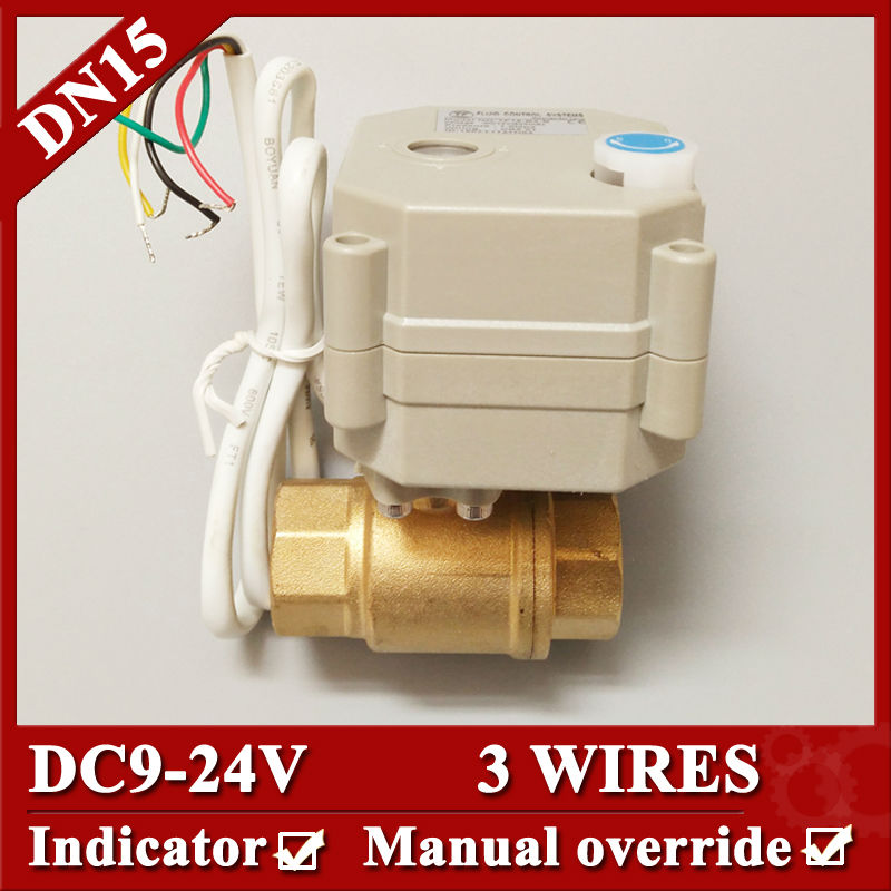 ФОТО 1/2'' Brass electric valve DC9-24V, DN15  3 wires Motorized Valve with indicator and manual override  for water control systems