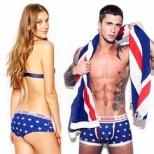 PINK HEROES Lovers' Underwear Men Boxer Shorts High Quality Men Panties Cotton Stars Printing/Stripe Fashion Male Underpants XXL