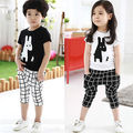 Fashion Cute Kids Boy Girls Short Sleeve Outfits Dogs T-shirt Plaid Pants Lovely Cartoon 2pcs Clothes Set