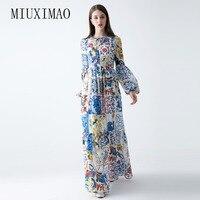 Benutzerdefinierte Plus Größe Kleid Neue Ankunft Oansatz Volle Aufflackernhülse Druck Blauen und weißen porzellan Elegante Knöchellangen Lange kleid Frauen