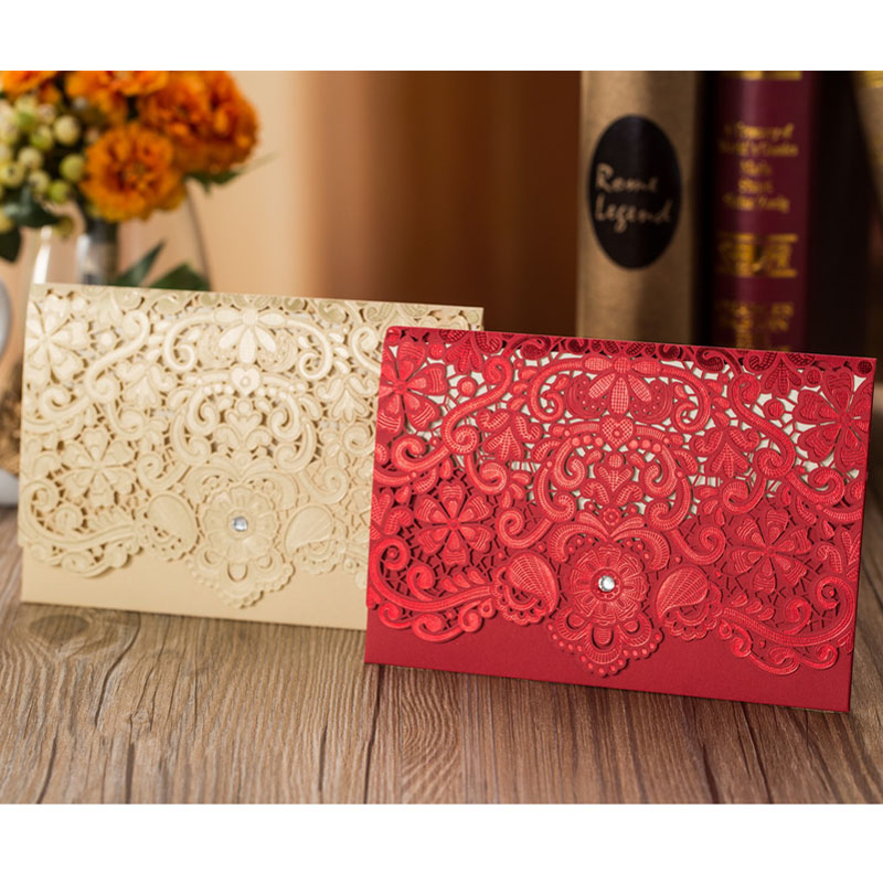 100pcs Gold Red Laser Cut Diamond Wedding Invitations Card Greeting Card Elegant Personalized Wedding Favor Event Party Supplies