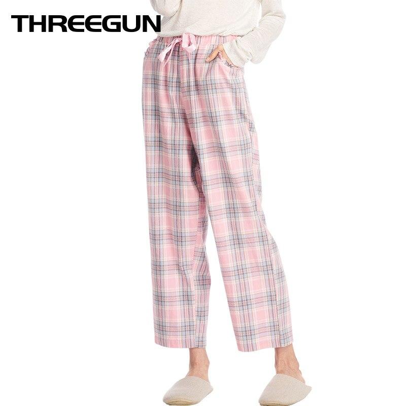 Threegun Frauen 2018 Herbst Neue Lose Lounge Böden Plaid Schlaf Hosen Gingham Pyjama Kontrollen Hause Hosen Mode Pijama Hose Offensichtlicher Effekt Damen-nachtwäsche Schlafhosen