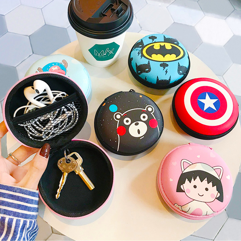 Mini Cartoon Portable Case For Headphones Case Zippered Round Storage Hard Bag Headset Box For Earphone Pouch Airpods Case