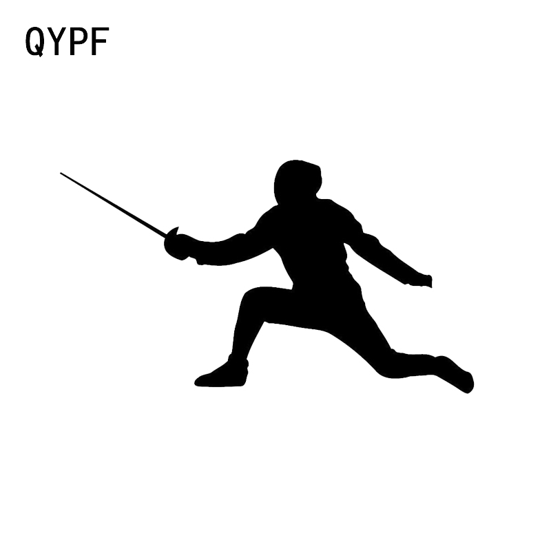 QYPF 12*6.8CM Interesting Fencing Combat Car Sticker Accessories Vinyl Silhouette C16-0984