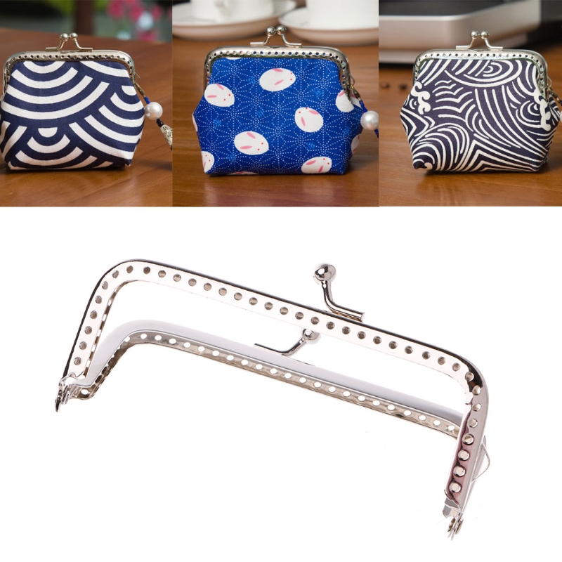 THINKTHENDO 2017 Women Metal Frame Kiss Clasp Arch 8.5cm Handle for Handbag Sewing Holes Clutch Coin Purse Bag Accessories image