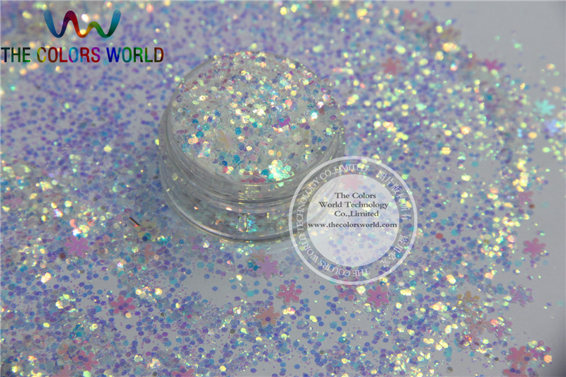Christmas Glitter -1 mix shiny christmas snowflakes shapes spangles for nail  Art  or other DIY decoration 1pack=50g fashion shiny glitter circular sequins thin nail art decoration manicure diy tool