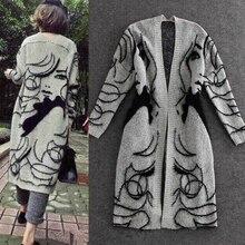 Женские весенние и осенние шерстяные вязаные свитера, пальто, длинные кардиганы