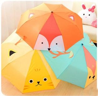 korean creative cartoon cat fox deer design umbrella women blue