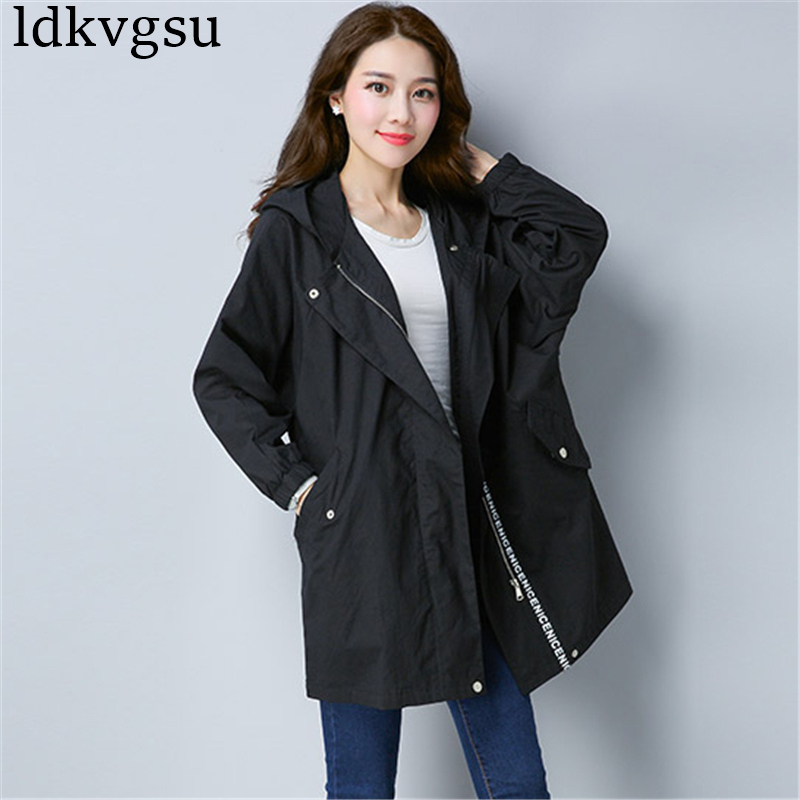 2018 New Korean Spring Autumn Women's   Trench   Coats Large Size Female Outerwear Casual Hooded Long Windbreaker Armygreen A550