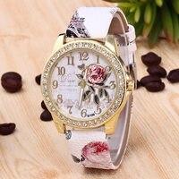 Women's classic watches diamond-studded printing belt watch fashion rose quartz watch