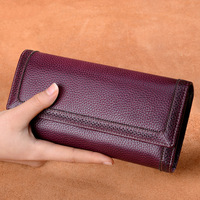 Genuine Leather Women Long Purse Retro Cowhide Wallet 2018 Fashion Thread Clutch Wallet Female Phone Bag Card Holder Bags~16P3