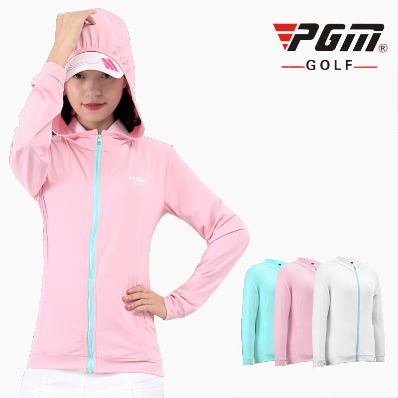 PGM Women Sportswear summer ladies ice silk sunscreen Golf jacket Womans Sports Breathable hooded jacket