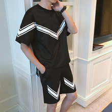 Wavy Stripe Men Shorts Set Two Piece Set Men Black White Stripe Pattern Fashion Casual Sportsuit Tuta Uomo Sportt Summer Set все цены