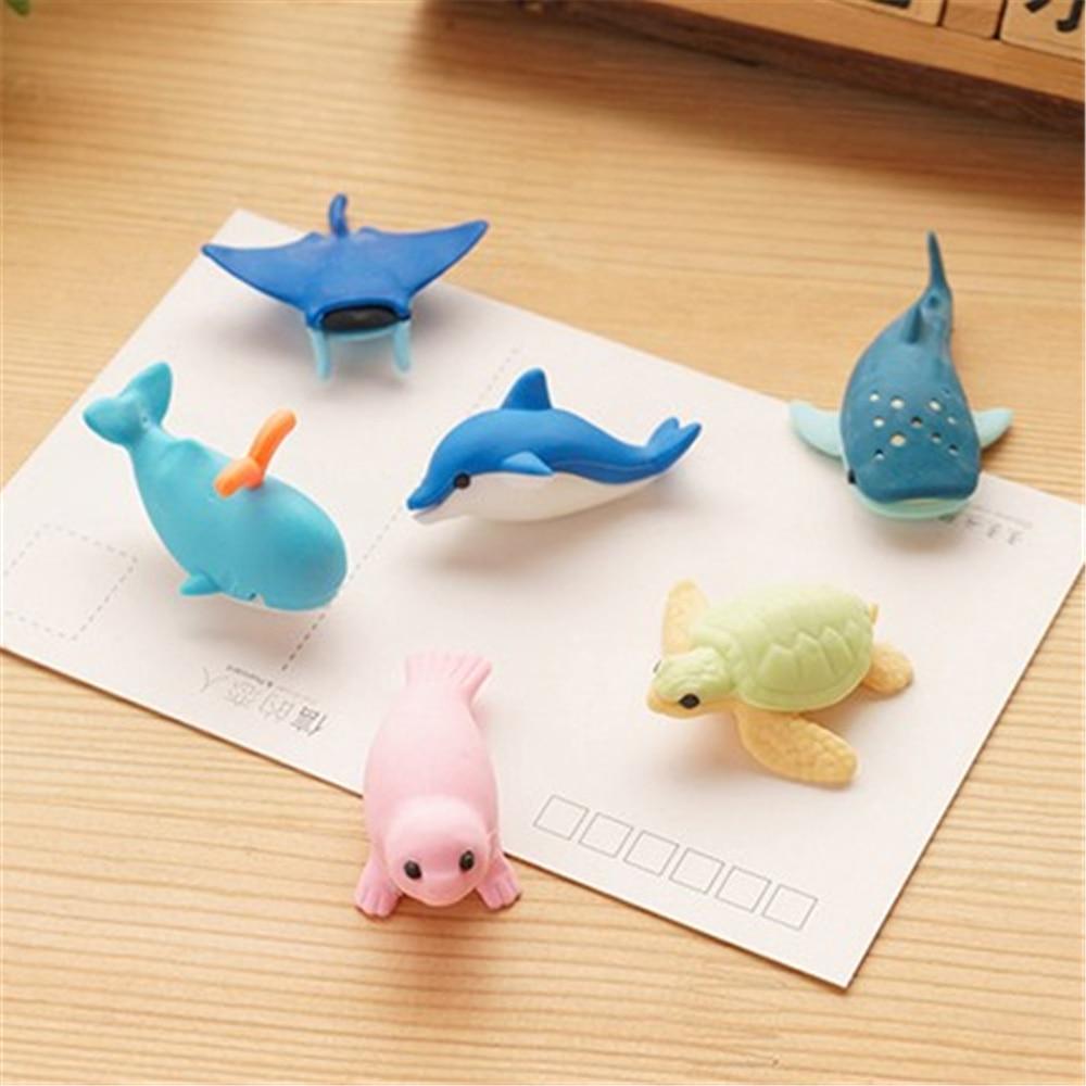 6pcs/lot Ocean Animal Erasers Bulk Fun Gifts For Kids Pencil Erasers Lot Eraser Animals