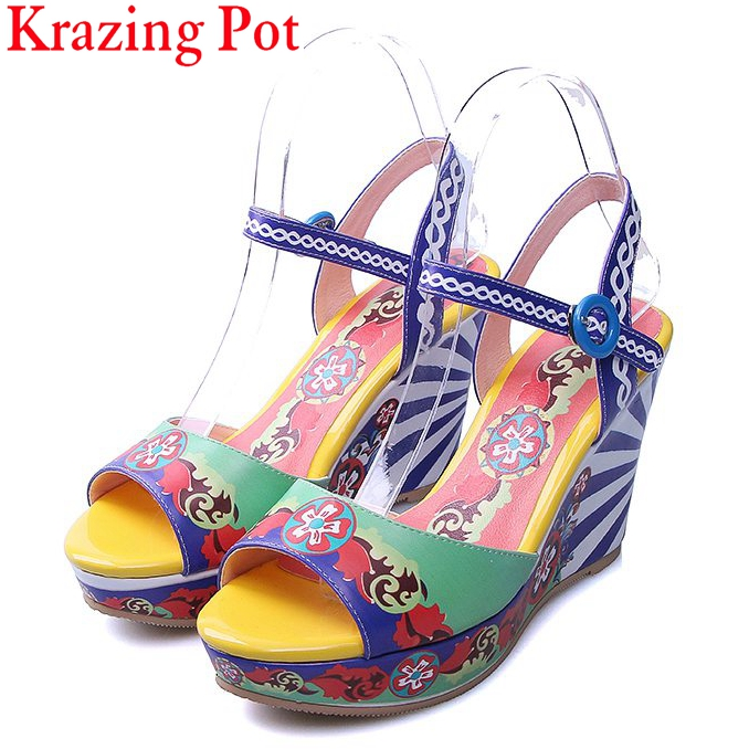 Fashion Mixed Colors Print Luxury Flowers Superstar Women Brand Buckle Straps Platform Wedges Chinese Style Summer Sandals L27 xiaying smile summer woman sandals platform wedges heel women pumps buckle strap fashion mixed colors flock lady women shoes