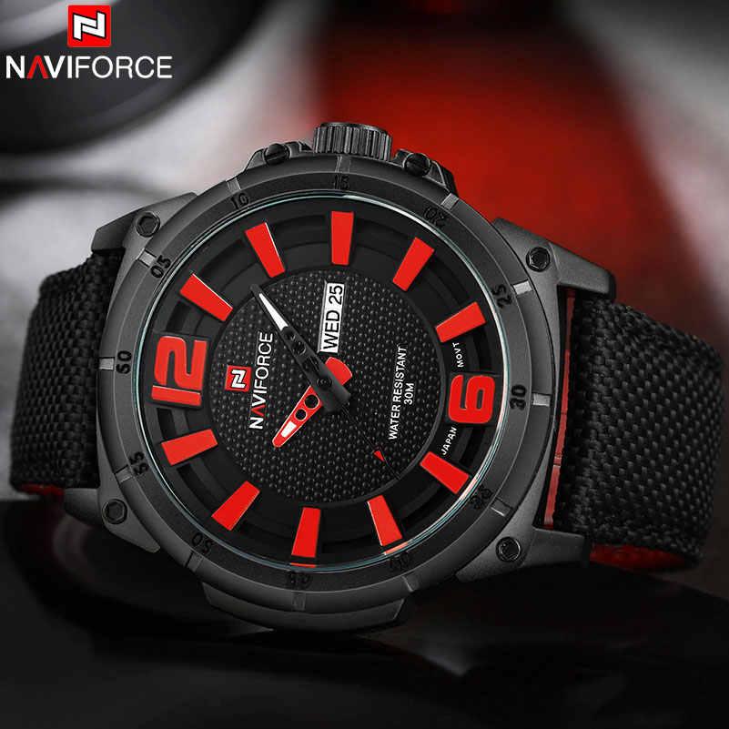 NAVIFORCE Watches Men Military Sports Quartz Watches Luxury Brand Fashion Casual Auto Date Week 3ATM Waterproof Nylon Watches