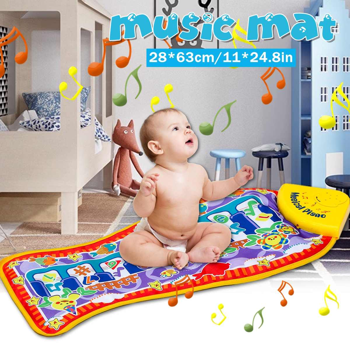 Soft Baby Musical Piano Mat Early Education Toys Music Mat Musical Blanket Touch Keyboard Play Mat Gifts For Toddlers Kids