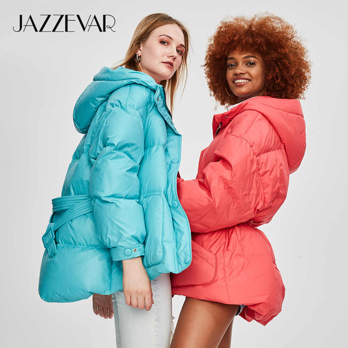JAZZEVAR 2019 Winter New Fashion Street Designer Brand Womens White Duck Down Jacket Pretty Girls Outerwear Coat With Belt