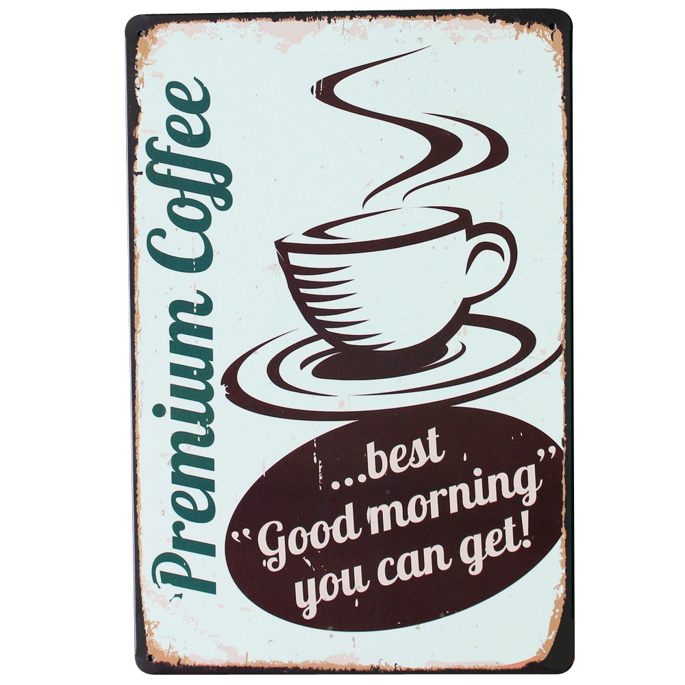 Premium Coffee Metal Tin Decor Sign Vintage Cafe Plaque Holiday Plate for tea