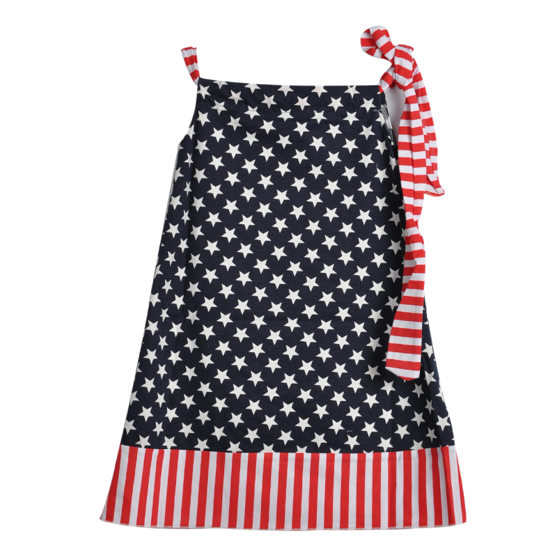 4th July Holiday Boutique Clothing Dress Flag Star Red Stripe Cotton Baby Girl Shoulder Strap Dress 2017 Hot Sale J016 4th july patriotic rwb stripe heart skirt white top shirt girl clothing set 1 8y mapsa0624