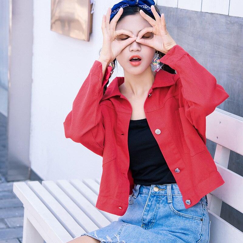 Harujuku Japanese Streetwear Red Short Wind Longsleeve Jacket and Coats Windproof Women Windbreaker Chic for Girls 2019 Spring F