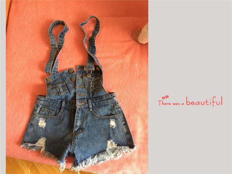 The new college wind denim strap shorts female summer hole loose Korean students was thin sling tide (23)