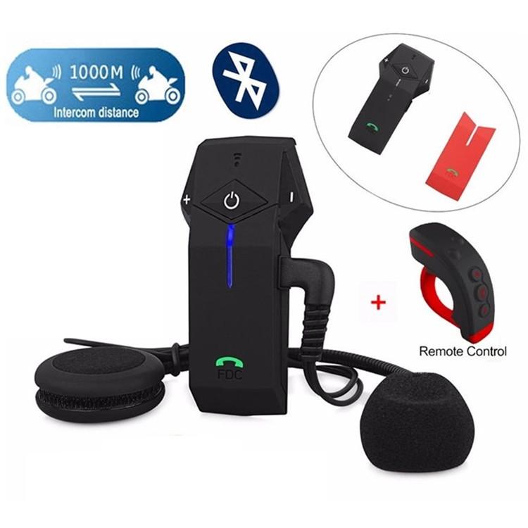 1PCS 1000m Motorbike Moto Helmet Bluetooth Intercom Stereo Headset Handsfree BT Interphone Earphones with NFC FM+Remote Control  (2)