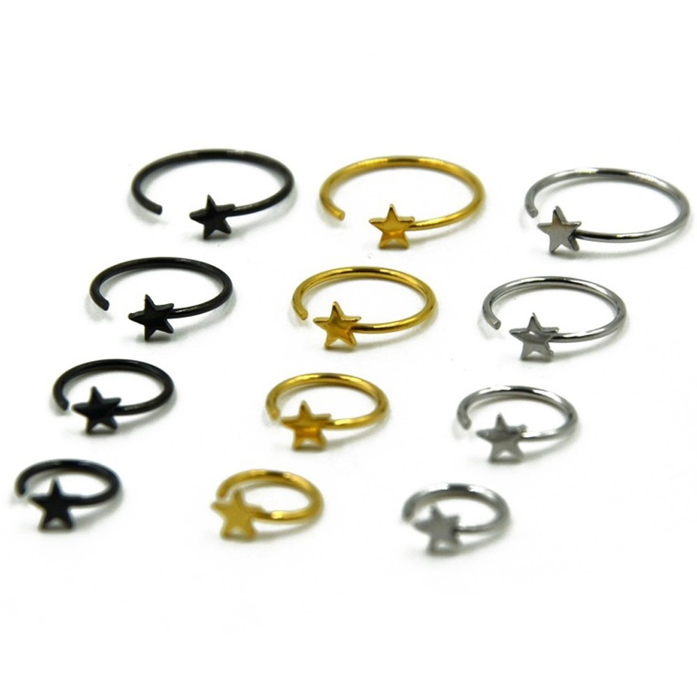 1piece Stainless Steel Star Shape pattern Nose Rings & Studs Hoop Ring Septum Clicker Ear Helix Tragus Cartilage Lip Ring  Body
