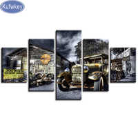 Kufwkey Diamond embroidery Vintage Car,Cross Stitch full square diamond painting Landscape,christmas decorations for home 5pcs