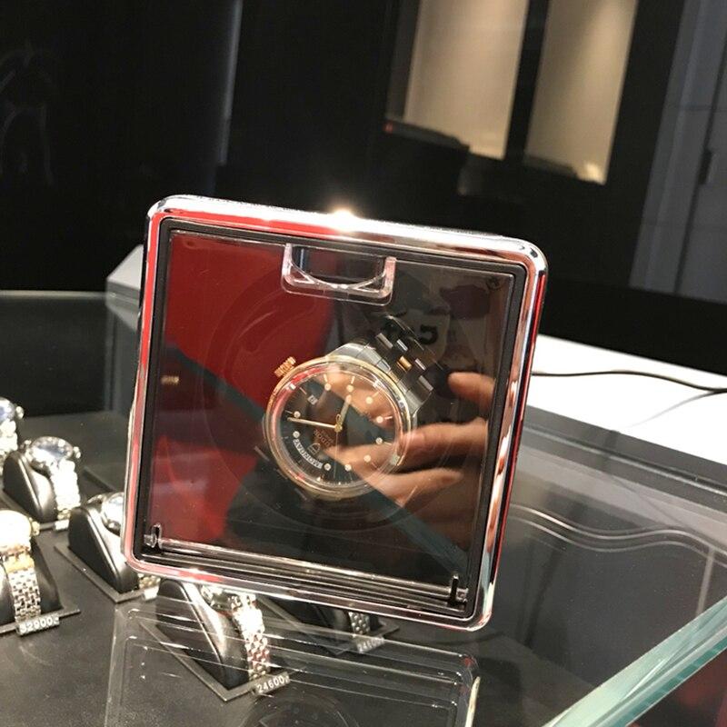 Расширяемый черный, красный вращения автоматические часы намотки Дисплей коробка прозрачная крышка механические часы обмотки поле часы хр...