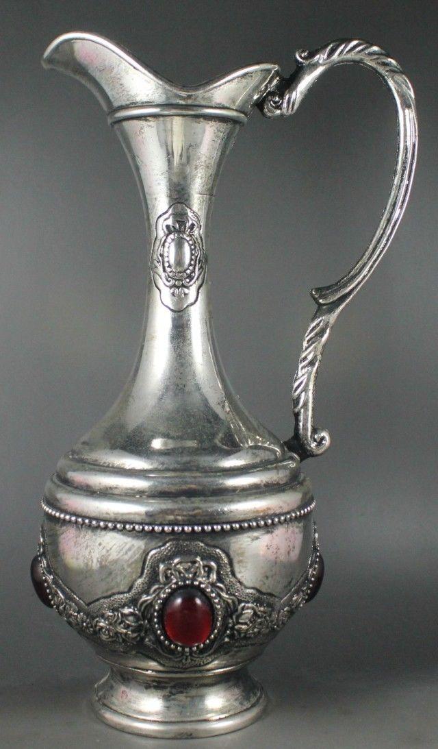 Chinês antigo de Prata Garrafa de Vinho, Copo de Vinho e Pallet Conjunto Livre de Frete - 4