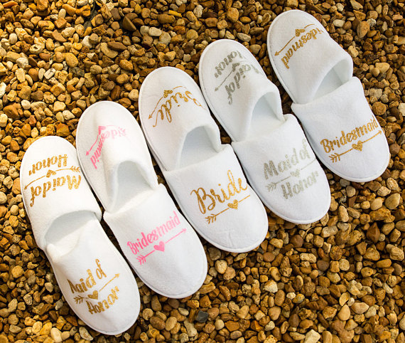 Wedding Night Gift For Bride: Personalize Glitter Bride Bridesmaid Maid Of Honor Closed Toe Spa Slippers Wedding Birthday Hen
