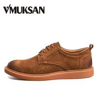 VMUKSAN Fashion Casual Men Shoes Leather Classic Vintage Zapatos Hombre 2018 New Breathable Lace Up Soft