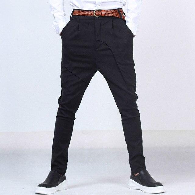 Мужчины 2016 Новый бренд моды случайные брюки мужчины дизайн высокое качество мужские шаровары slim fit костюм платье брюки загрузки брюки Q619