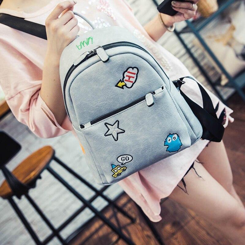 Vintage Fresh Students Backpack Female Korean Backpack School Cute Kawaii PU leather Backpack For girls Sac