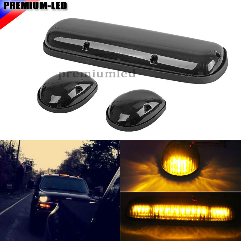 3pc-Set Black Smoked Cab Roof Top Marker Running Lamps w/ Amber LED Lights For Truck Pickup 4x4 SUV