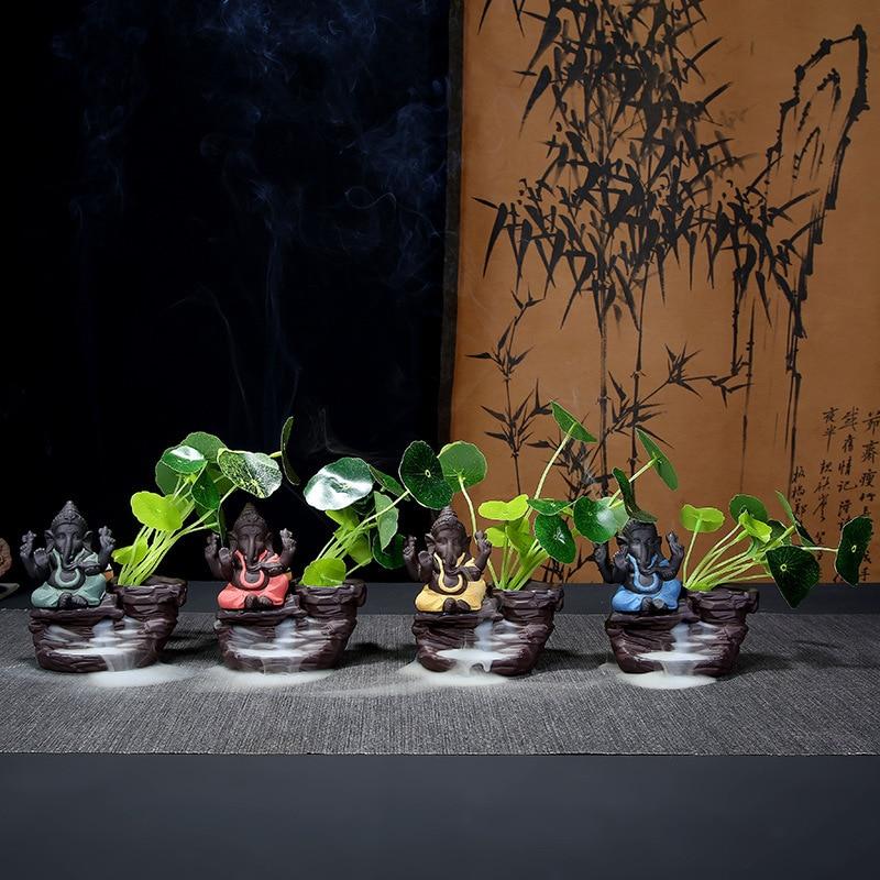 Brûleur d'encens Incenso de porte-encens sable eau coulante Alpine asie du sud-est dieu éléphant Ganesha bouddhiste véritable fleur