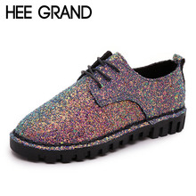 HEE GRAND Bling Gitter Creepers Platform Oxfords Shoes Woman 2017 Lace-Up Flats Fashion Casual Women Flat Shoes XWD4461