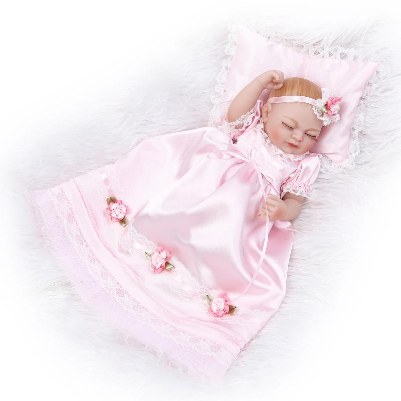 ФОТО Newborn Babies Full Body Stuffed Soft Silicone Vinyl Toys 11 inch Lifelike Sleepy Girl Reborn Doll Pink Princess Dress Pillow