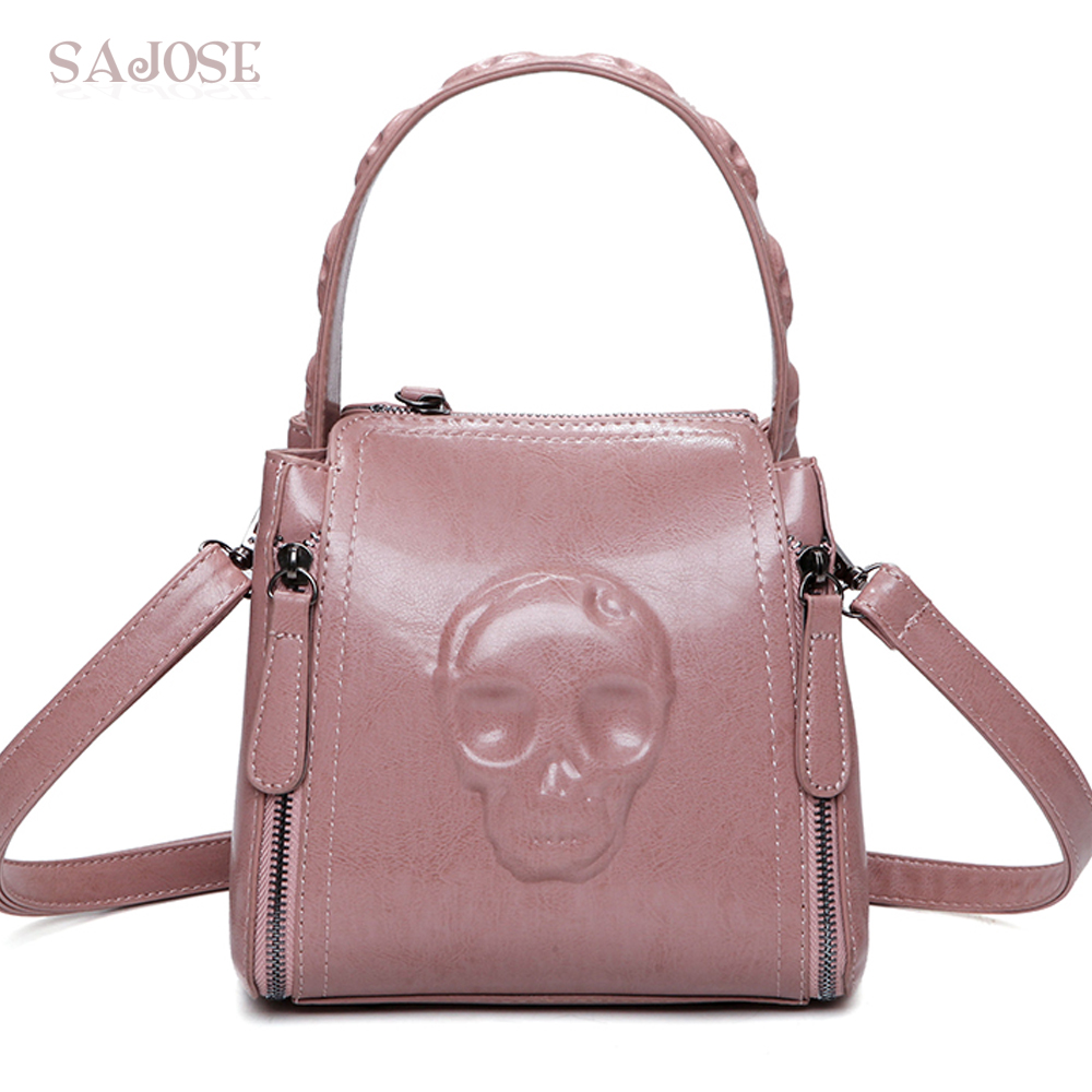 Fashion Skull Small PU Leather Tote Bags Handbag Women Shoulder Bag Messenger For Larger Pink Top-Handle Bags Drop Shipping