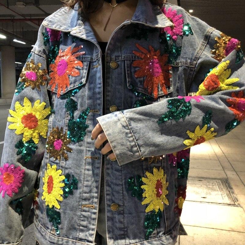 Vintage Lyl349 Femmes Imprimer Brodés Fleur Décontracté Denim Trou 2019 Sequin Manteau Base Printemps Vestes Automne Blue Chaqueta Jeans De SVqUpzM