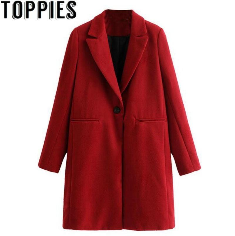 Las mujeres de invierno rojo largo abrigo de lana, una elegante botón Oversize Parka abrigo cappotto donna abrigos para mujer invierno 2019